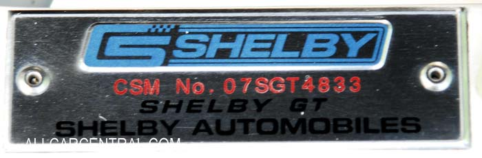 Shelby GT CSM 07SGT4833 sn-1ZVHT82H875361675 2007