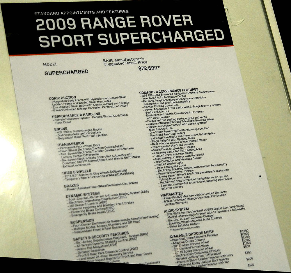 2008 Land Rover Range Rover Supercharged: 2009 Land Rover And Range Rover