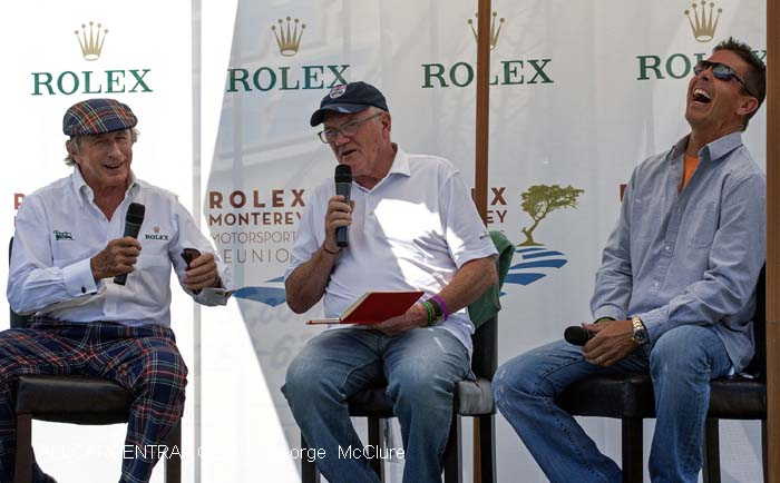 Sir Jackie Stewart; Murray Smith; Scott Pruett  Rolex Monterey Motorsports Reunion 2015