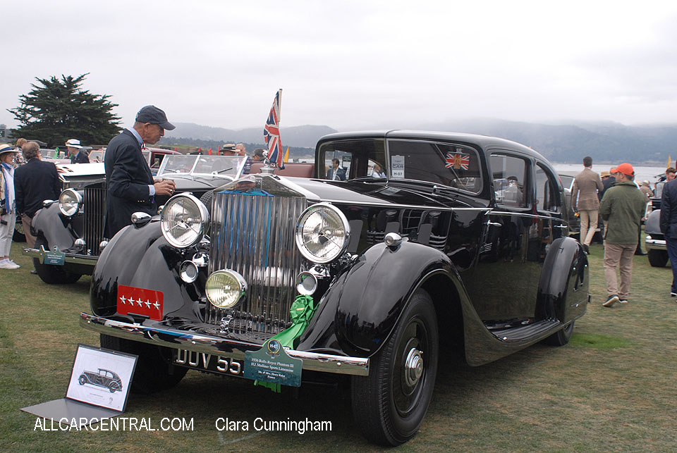 Rolls-Royce Phantom III H J Mulliner Sports Limousine 1936  Clara Cunningham Photo Pebble Beach Concours d'Elegance 2017